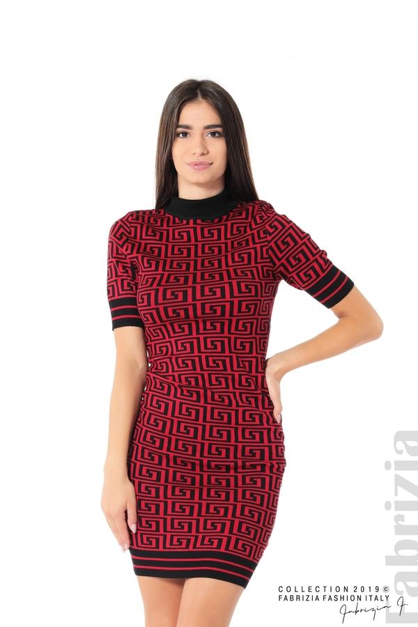 Къса фигурална дамска рокля черен/червен 1 fabrizia