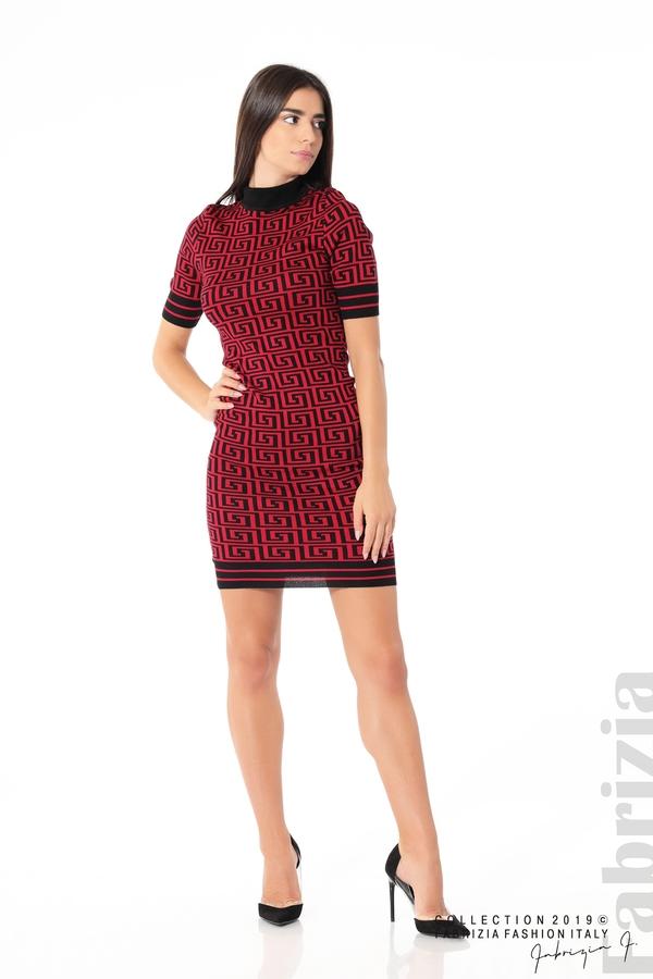Къса фигурална дамска рокля черен/червен 3 fabrizia