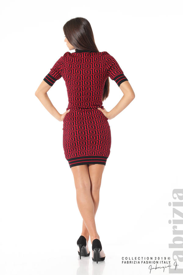 Къса фигурална дамска рокля черен/червен 4 fabrizia