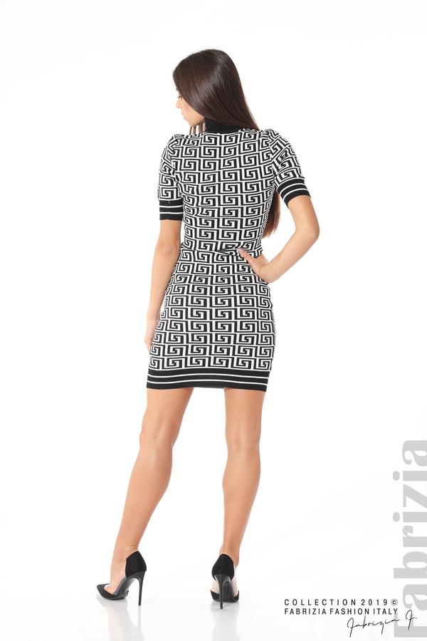 Къса фигурална дамска рокля черен/бял 4 fabrizia