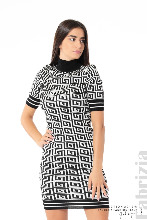 Къса фигурална дамска рокля черен/бял 1 fabrizia