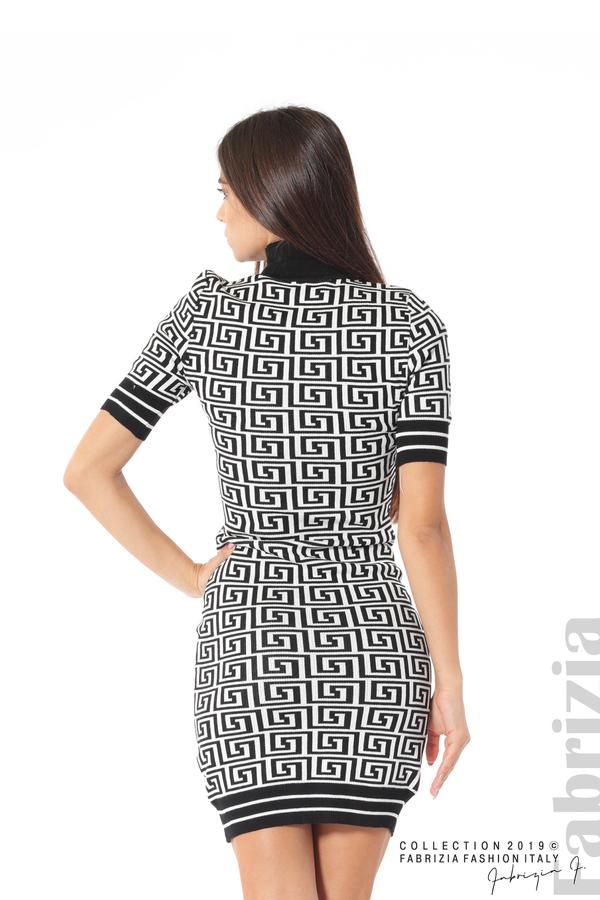 Къса фигурална дамска рокля черен/бял 5 fabrizia
