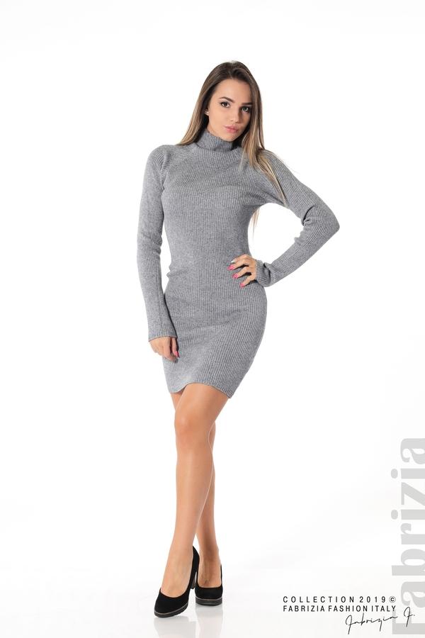 Къса дамска рипсена рокля сив 3 fabrizia