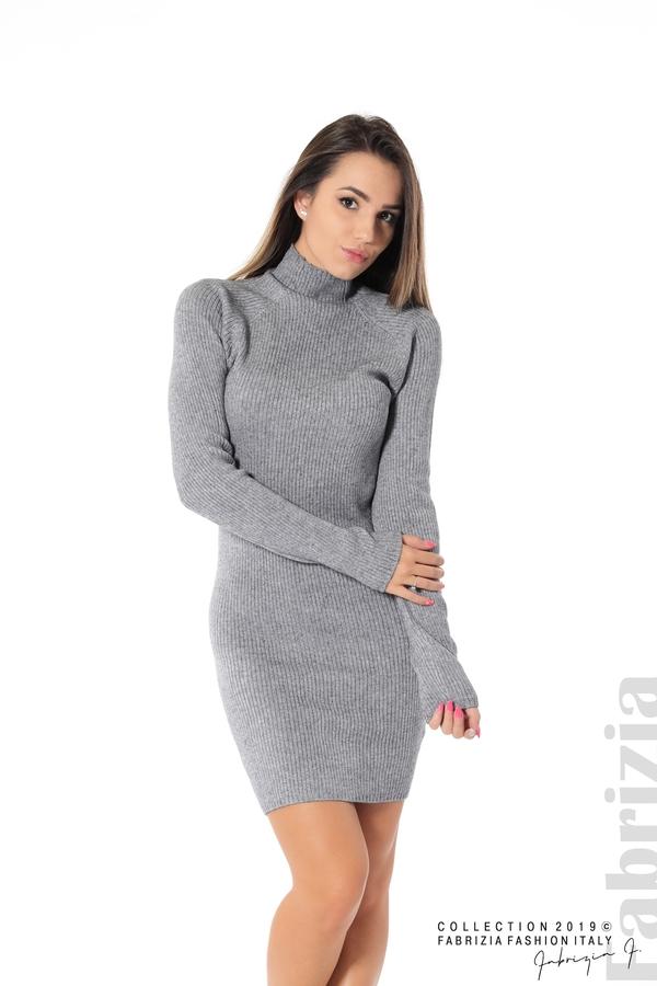 Къса дамска рипсена рокля сив 1 fabrizia