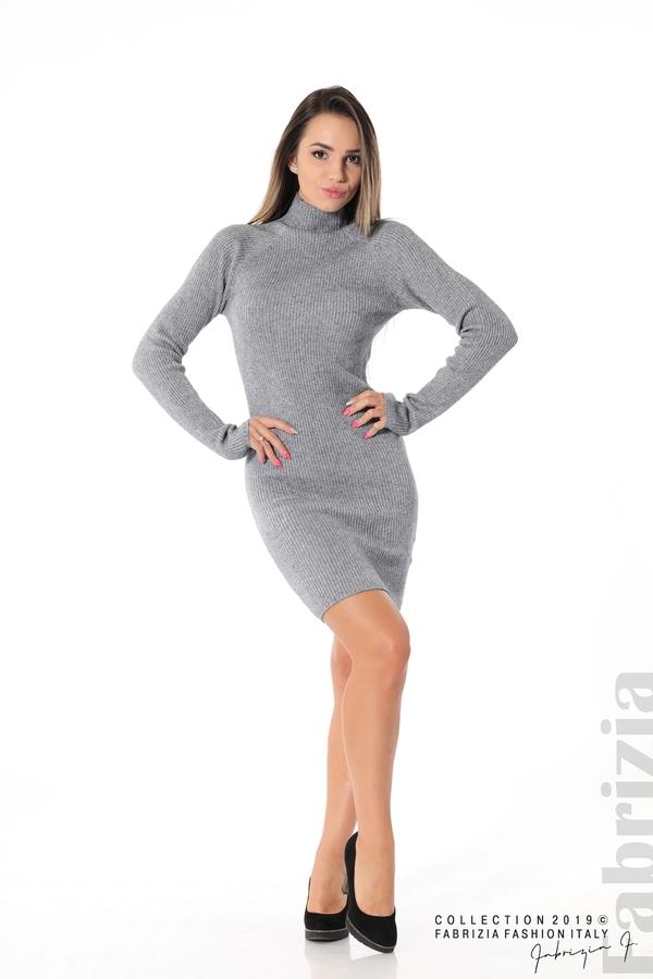 Къса дамска рипсена рокля сив 2 fabrizia