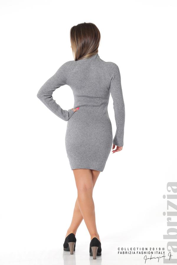 Къса дамска рипсена рокля сив 4 fabrizia