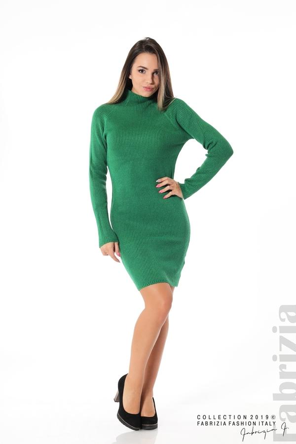 Къса дамска рипсена рокля зелен 2 fabrizia