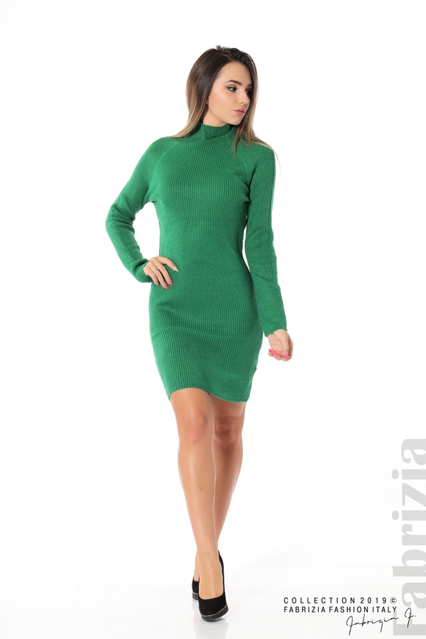 Къса дамска рипсена рокля зелен 3 fabrizia