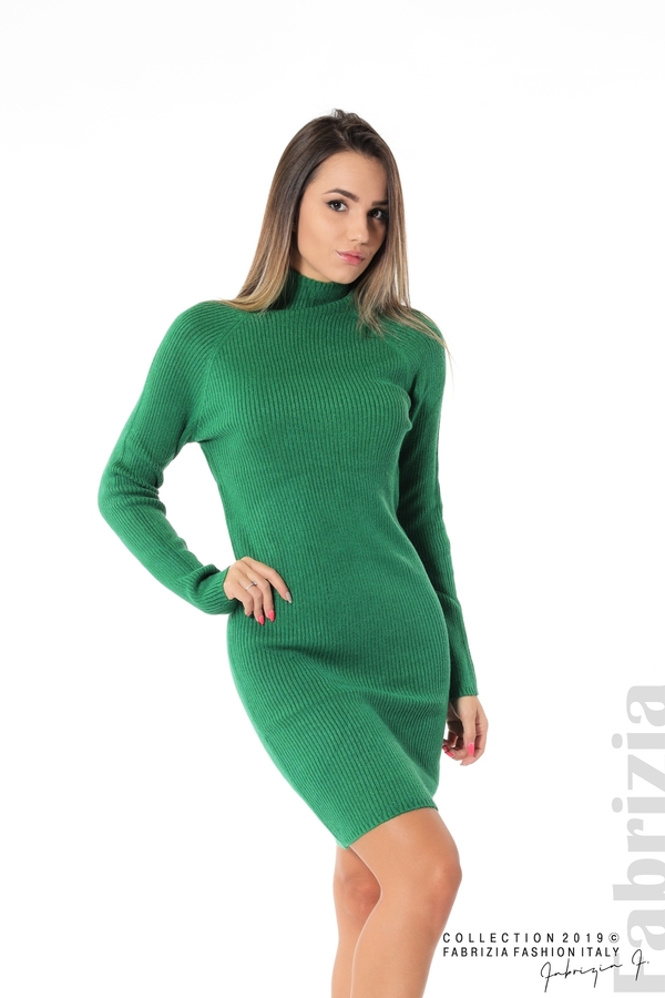 Къса дамска рипсена рокля зелен 1 fabrizia