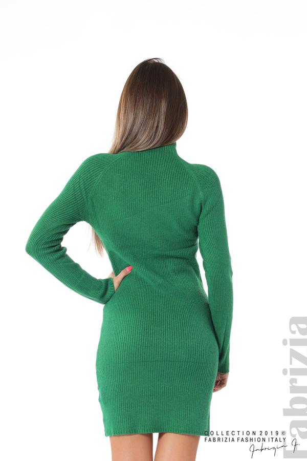 Къса дамска рипсена рокля зелен 4 fabrizia