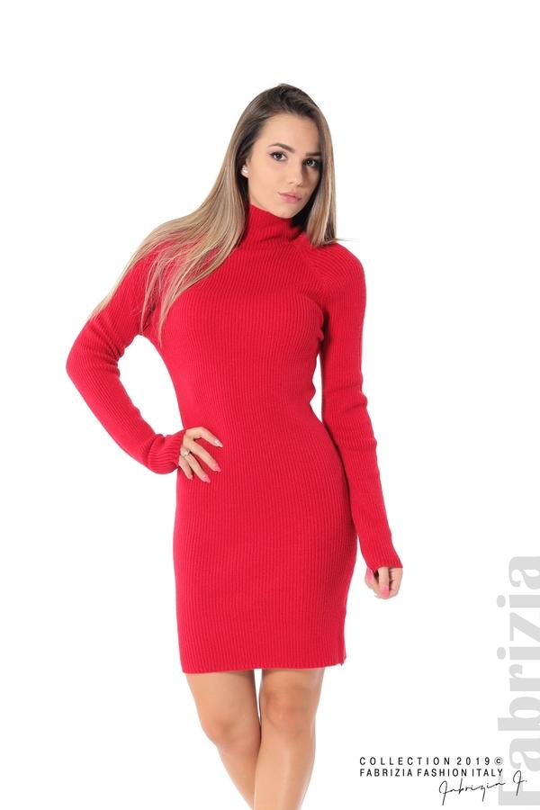 Къса дамска рипсена рокля червен 1 fabrizia