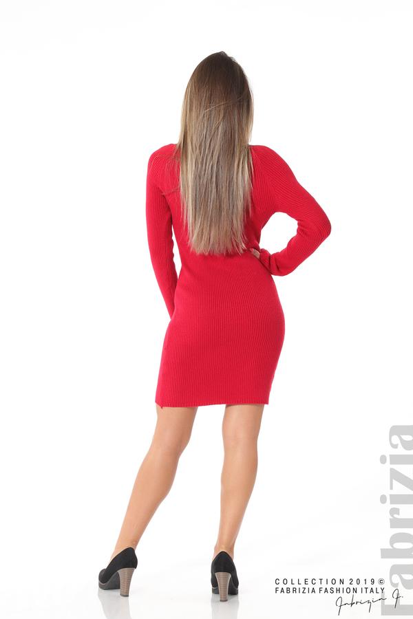 Къса дамска рипсена рокля червен 3 fabrizia
