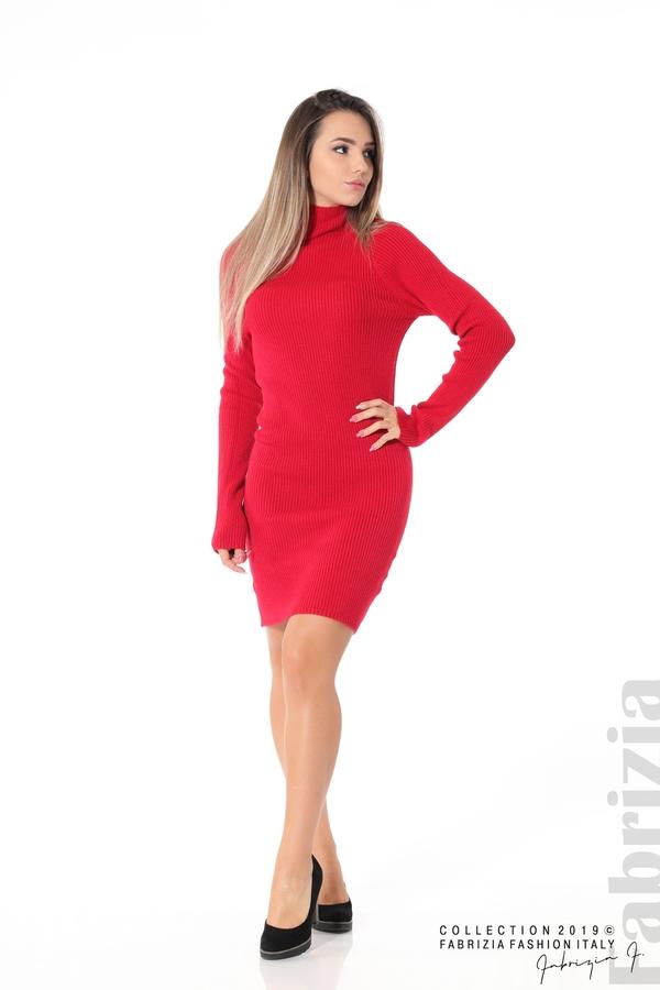 Къса дамска рипсена рокля червен 2 fabrizia