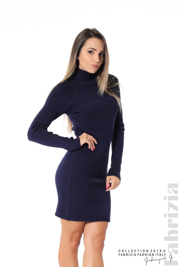 Къса дамска рипсена рокля т.син 1 fabrizia