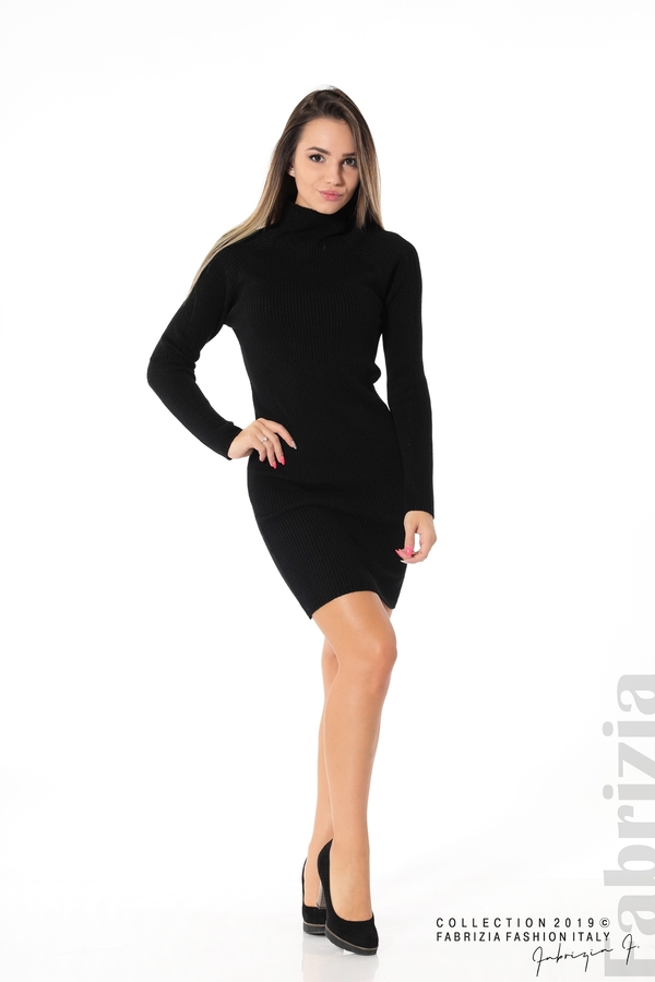 Къса дамска рипсена рокля черен 2 fabrizia