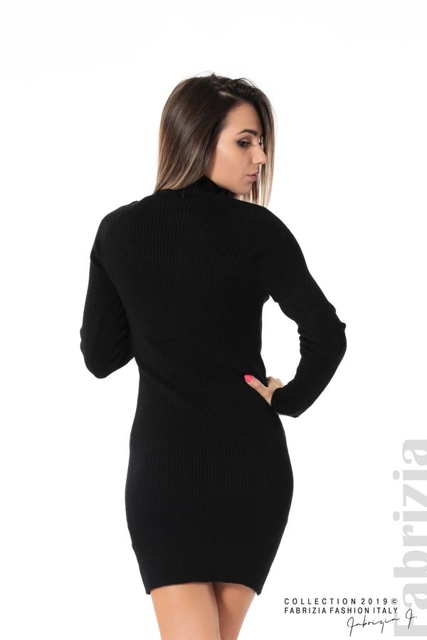 Къса дамска рипсена рокля черен 3 fabrizia