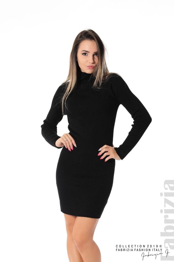 Къса дамска рипсена рокля черен 1 fabrizia