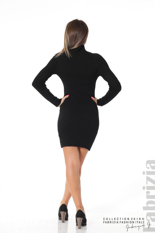 Къса дамска рипсена рокля черен 4 fabrizia