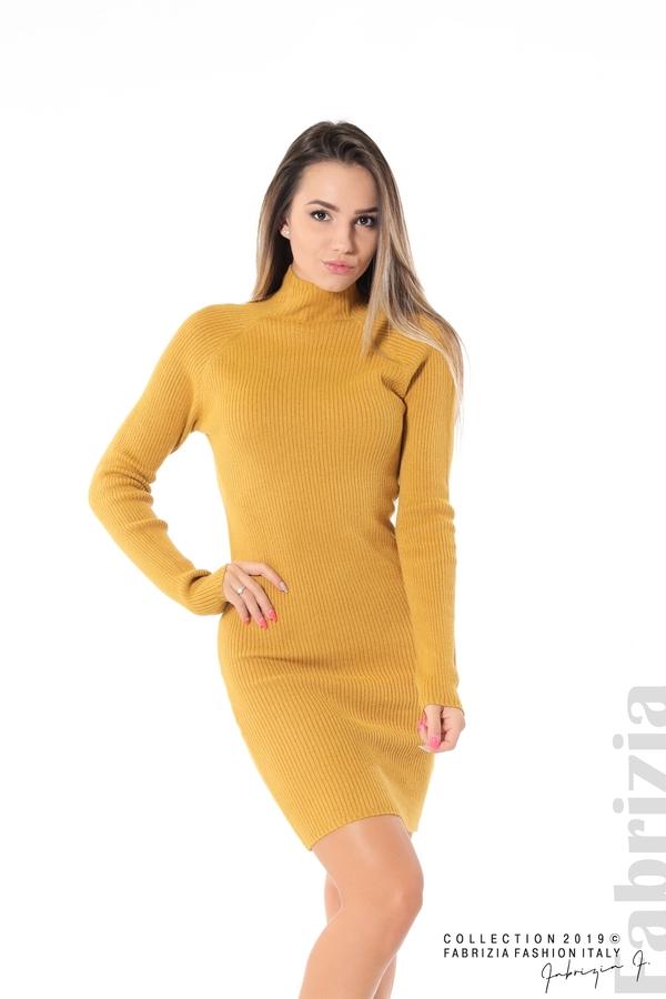 Къса дамска рипсена рокля горчица 1 fabrizia