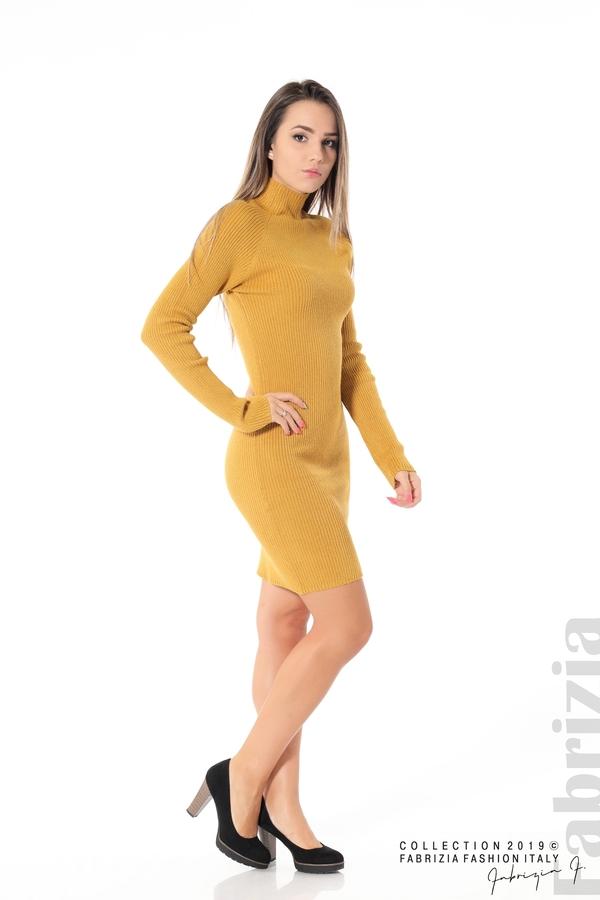 Къса дамска рипсена рокля горчица 3 fabrizia