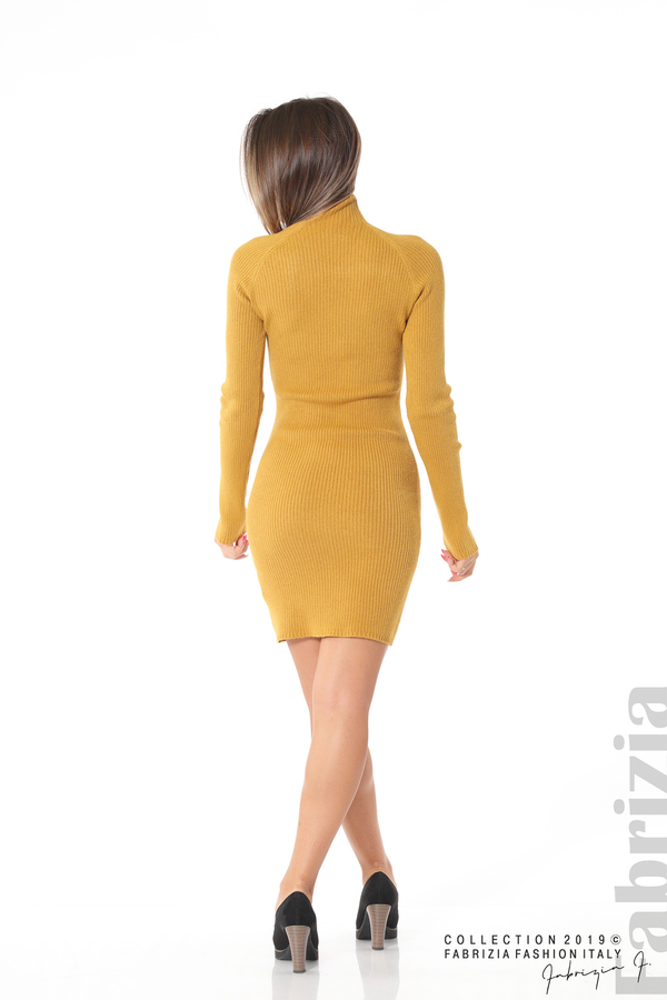 Къса дамска рипсена рокля горчица 4 fabrizia