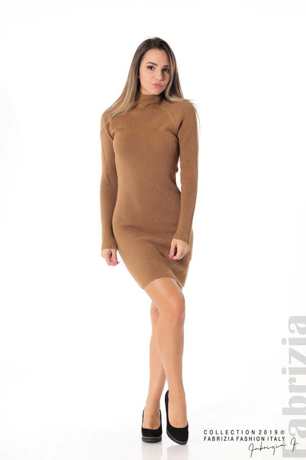 Къса дамска рипсена рокля кафяв 2 fabrizia