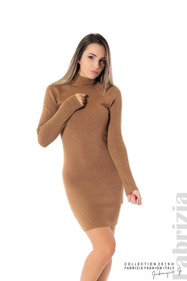 Къса дамска рипсена рокля кафяв 1 fabrizia