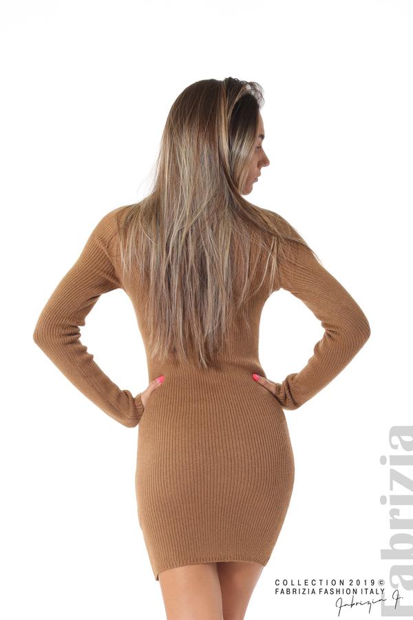 Къса дамска рипсена рокля кафяв 4 fabrizia