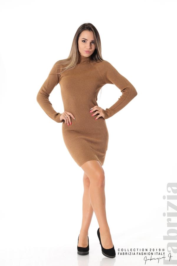 Къса дамска рипсена рокля кафяв 3 fabrizia
