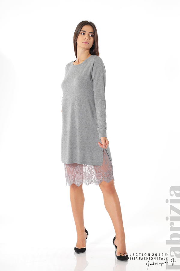 Дамска рокля с дантела сив 2 fabrizia