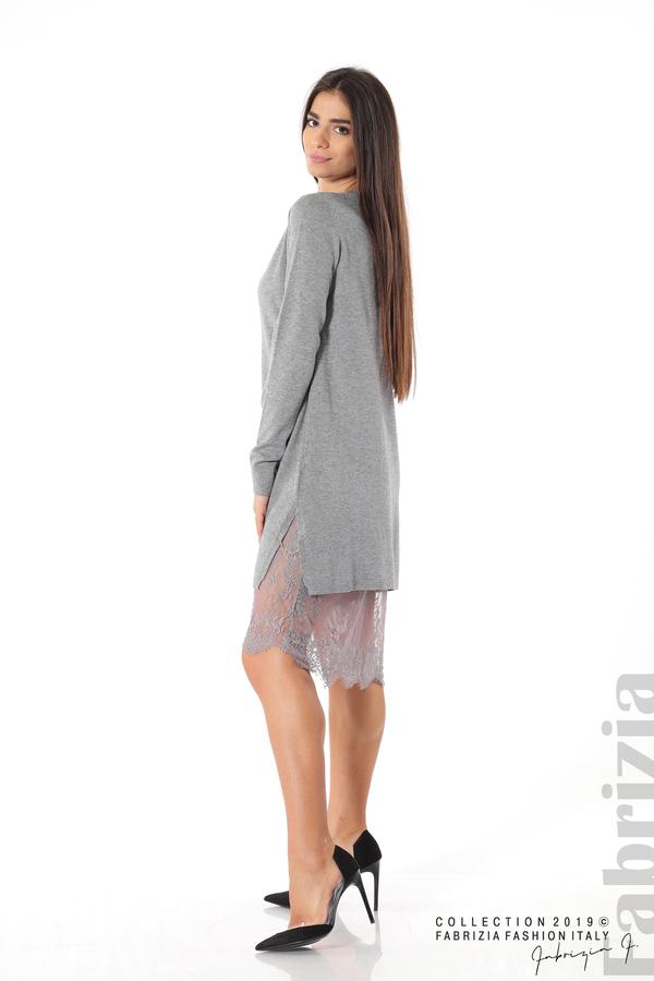 Дамска рокля с дантела сив 3 fabrizia