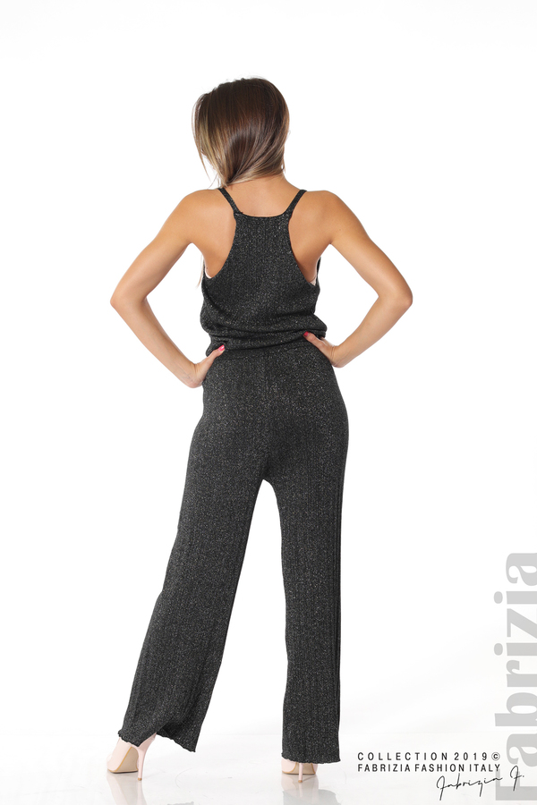 Комплект широк панталон и топ черен/сребрист 4 fabrizia