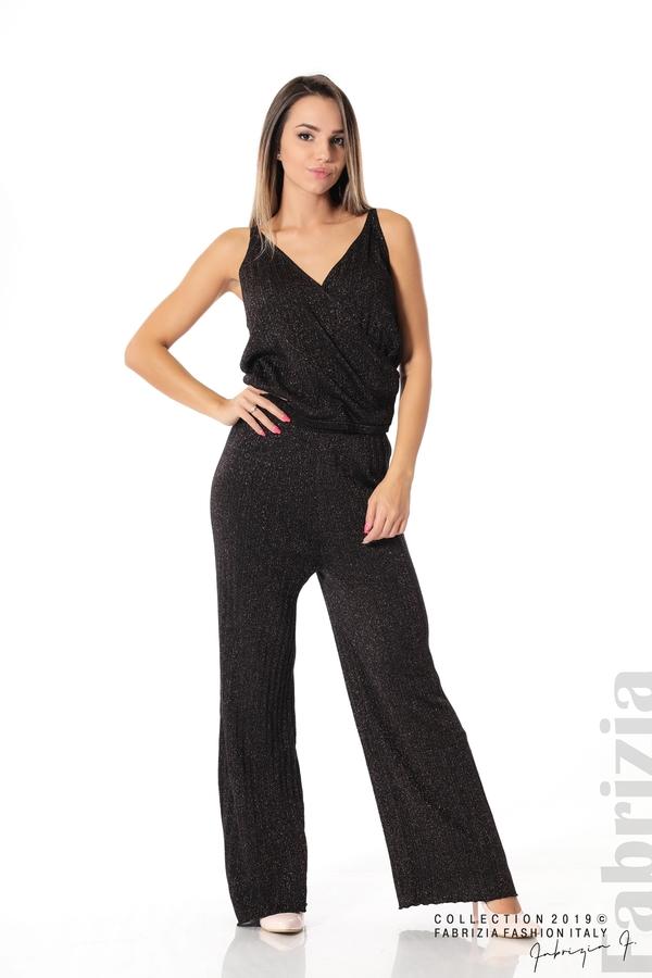 Комплект широк панталон и топ черен/лилав 1 fabrizia