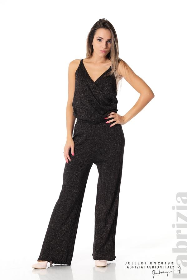 Комплект широк панталон и топ черен/лилав 2 fabrizia