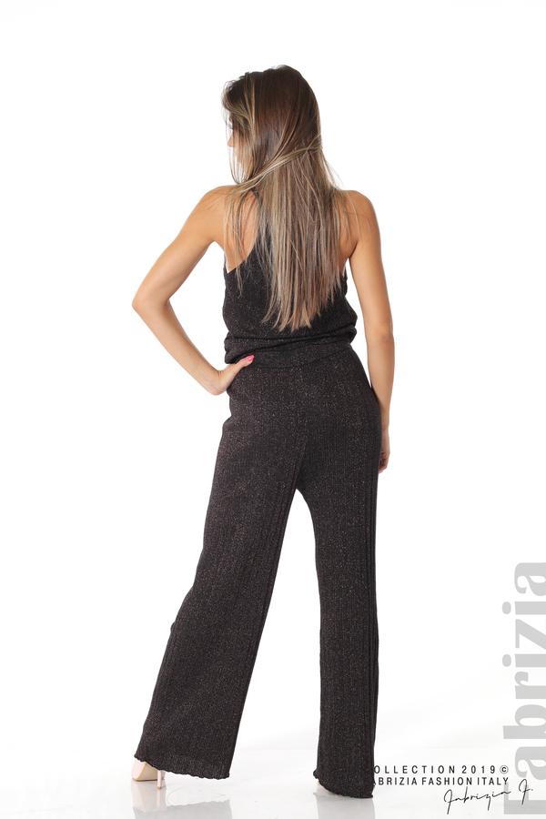 Комплект широк панталон и топ черен/лилав 3 fabrizia