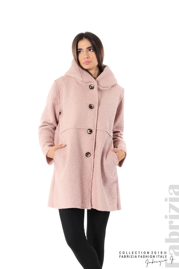 Стилно палто с качулка пепел от рози 2 fabrizia