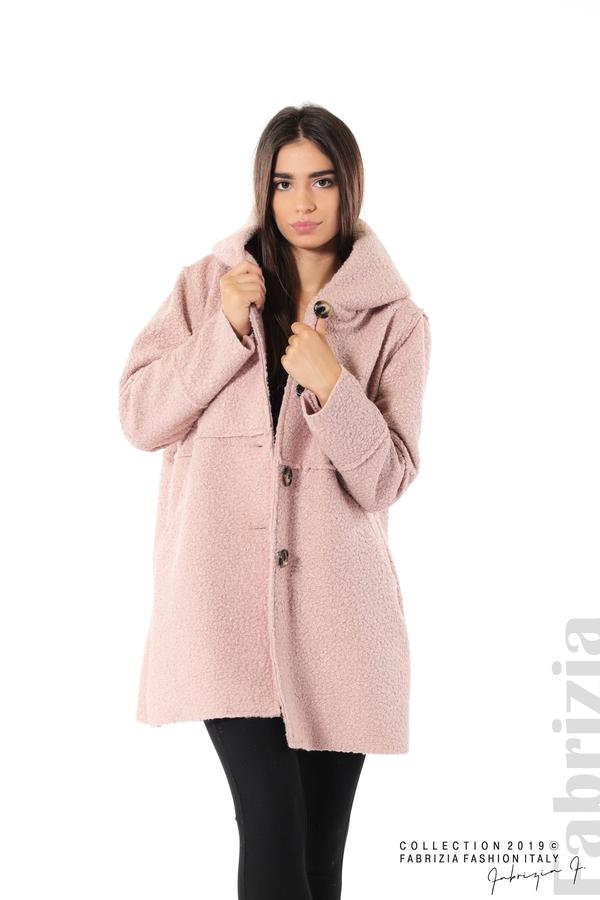 Стилно палто с качулка пепел от рози 1 fabrizia