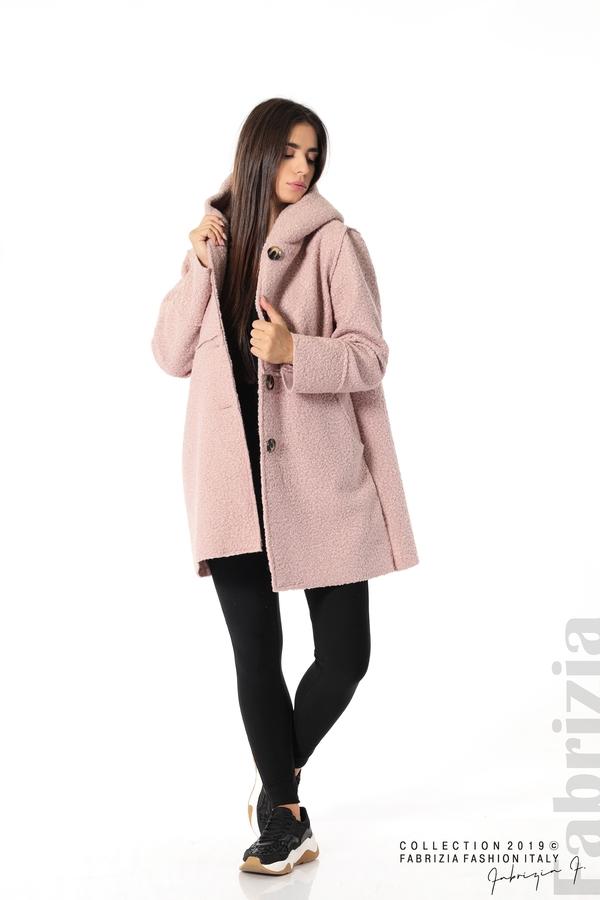Стилно палто с качулка пепел от рози 3 fabrizia
