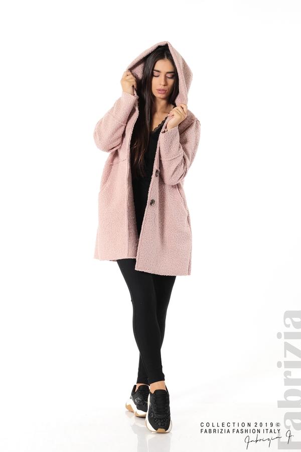 Стилно палто с качулка пепел от рози 4 fabrizia