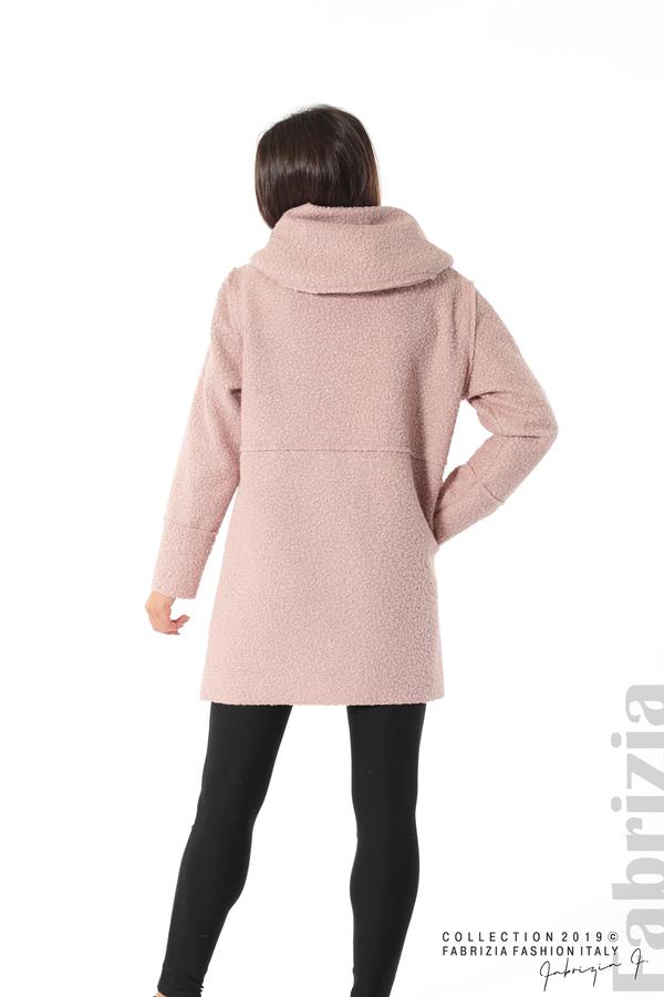 Стилно палто с качулка пепел от рози 5 fabrizia