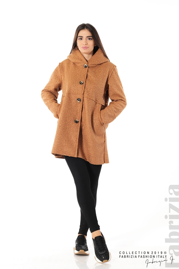 Стилно палто с качулка камел 3 fabrizia