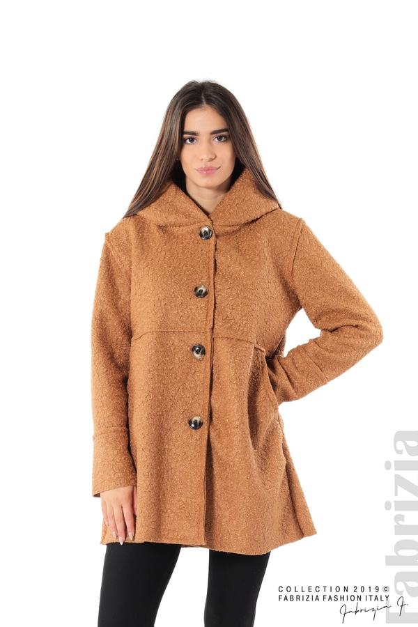 Стилно палто с качулка камел 1 fabrizia