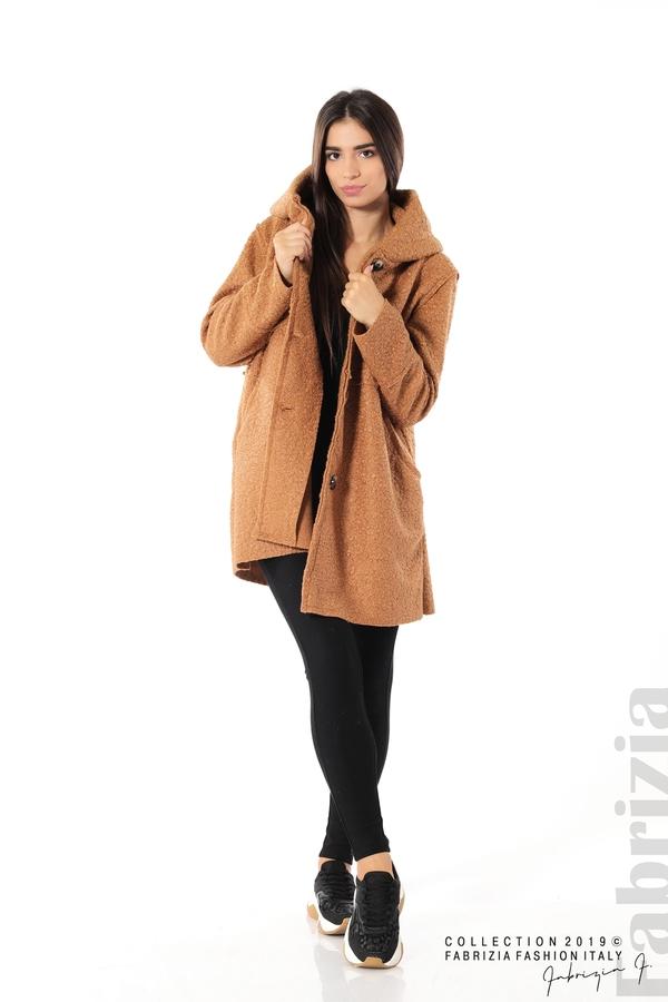 Стилно палто с качулка камел 2 fabrizia