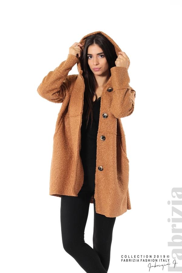 Стилно палто с качулка камел 4 fabrizia