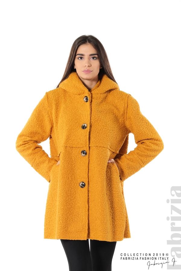 Стилно палто с качулка т.жълт 1 fabrizia