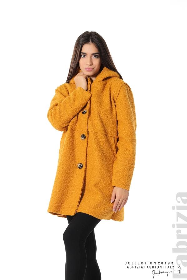 Стилно палто с качулка т.жълт 3 fabrizia