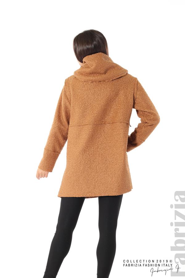 Стилно палто с качулка камел 5 fabrizia