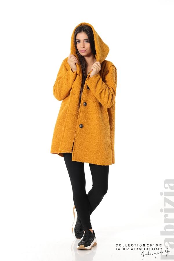 Стилно палто с качулка т.жълт 2 fabrizia