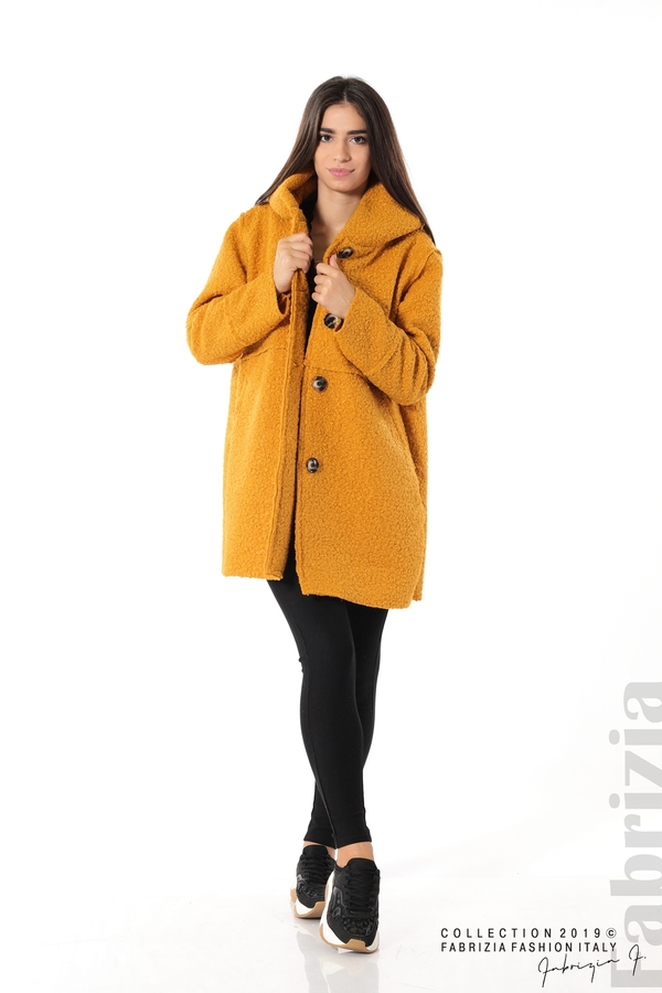 Стилно палто с качулка т.жълт 4 fabrizia