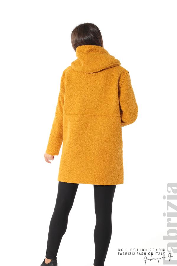 Стилно палто с качулка т.жълт 5 fabrizia